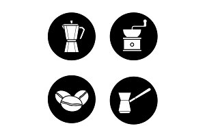 Coffee brewing. 4 icons. Vector