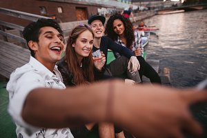 Young people making selfie