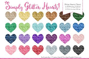 Rainbow Glitter Hearts Clipart