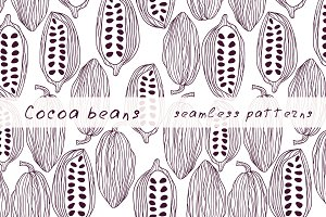 Cocoa beans pattern set