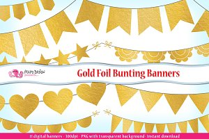 Gold Foil Bunting Banners clipart