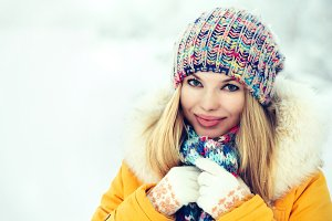 Winter Woman Face happy smiling
