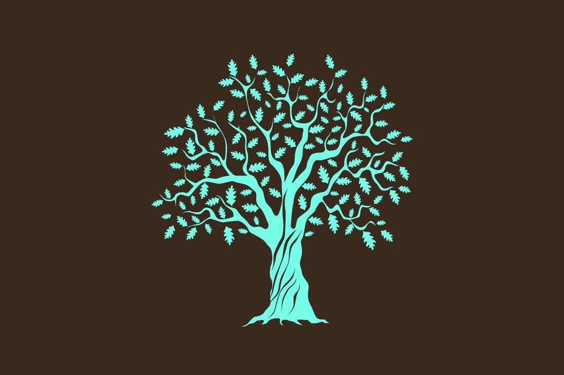 Vector Illustration Tree: Vector Oak Tree Silhouette