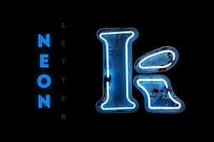 Vintage neon letter K