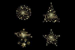 Vector Golden Christmas Illustration