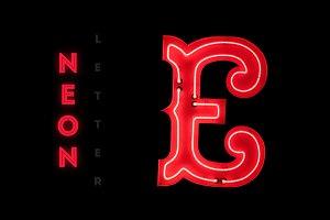 Vintage neon capital letter E