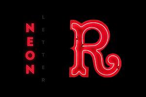 Vintage neon capital letter R