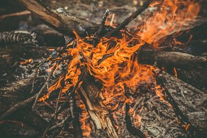 Fire Flame wooden camp