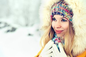 Winter Woman Face in hat