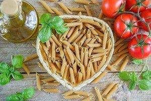 Brown dry pasta
