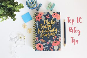 Blue journal, greenery flatlay