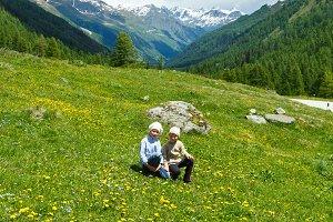 Children in summer mountains