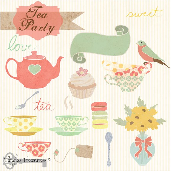 Tea Party Digital Clipart ~ Graphics on Creative Market
