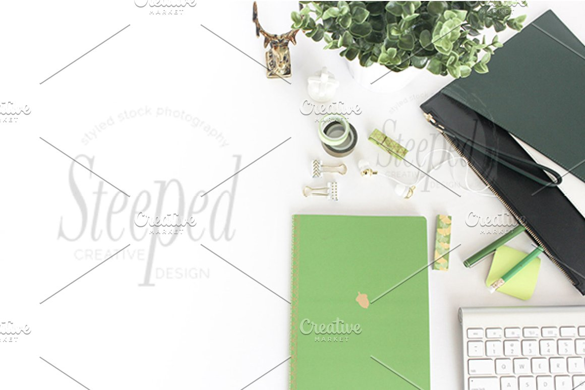 Greenery, gold, white, keyboard