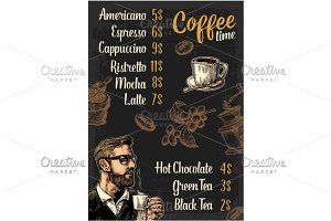 cafe menu coffee drink with price