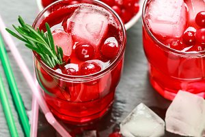 Cranberry lemonade with rosemary
