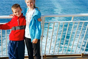 Children on the deck of the ship