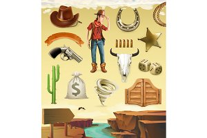 Cowboy cartoon objects. 3d vector