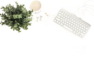 Keyboard, green plant, gold flatlay