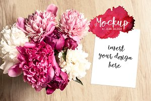 Vertical Card Mockup With Peonies