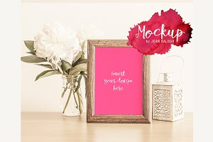 Beautiful Mockup With Wooden Frame