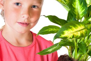 Small girl with houseplant