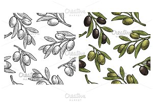 Seamless pattern Olives branch leaf