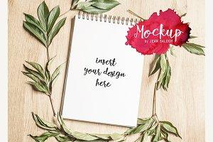 Sketchbook Mockup With Leaves