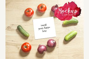 Square Card Mockup With Vegetables