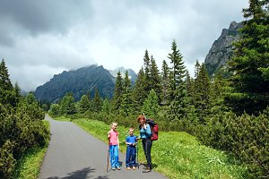 Family in summer mountains
