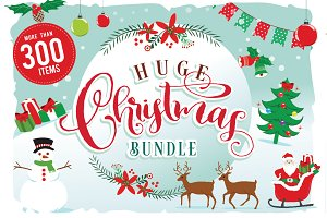 Christmas Clipart Bundle  300 items