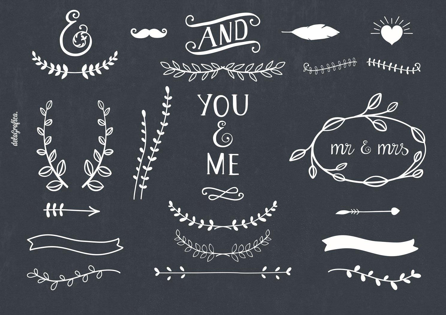 chalkboard laurels ribbons arrows illustrations creative market