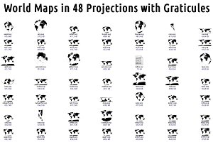 Vector Maps: World in 48 Projections