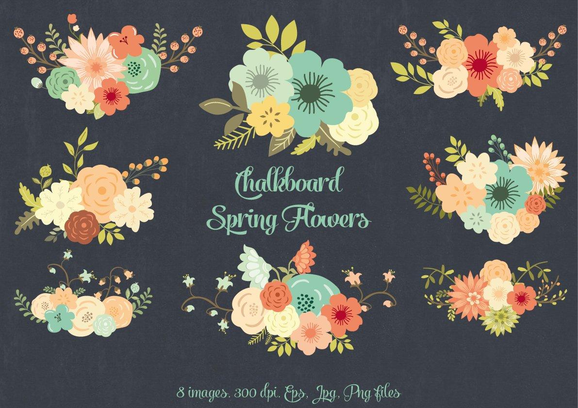Chalkboard Spring Flowers Illustrations Creative Market