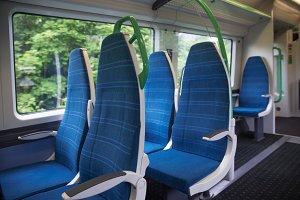 Electric train blue sits