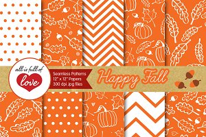 Orange Pumpkins Background Patterns