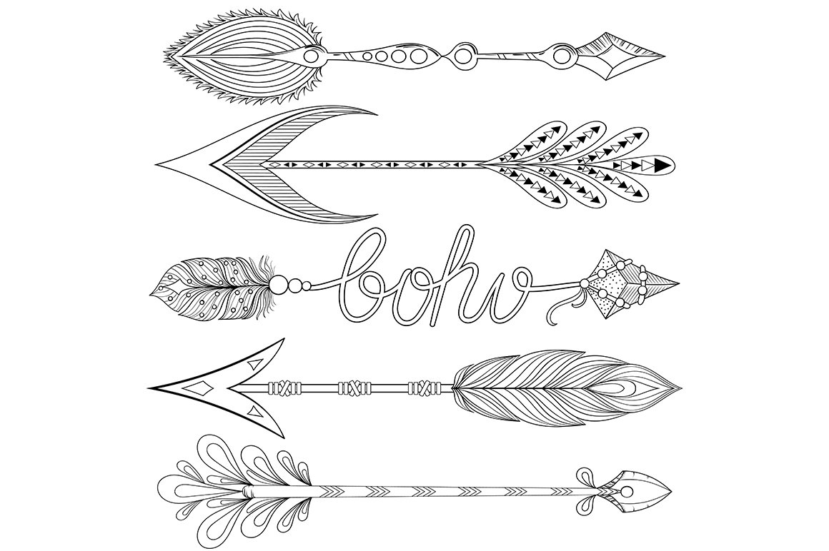 Bohemian Arrows Set Hope And Love Graphic Objects