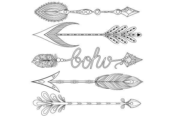 Bohemian Arrows Set Hope And Love Objects Creative Market