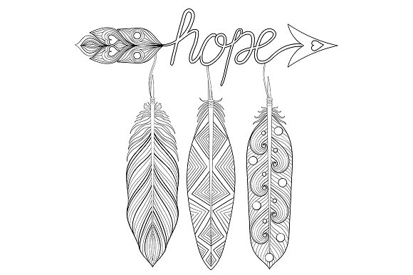 Bohemian Arrows Set Hope And Love Graphic Objects Creative Market