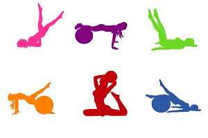 set of fitness icons, Pilates