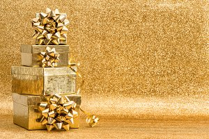 Golden gifts Christmas decoration