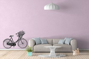 Wall Mockup - Sticker Mockup Vol 39
