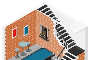 Basement isometric icon set
