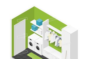 Cleaning room isometric icon