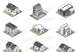 Different houses isometric icon set