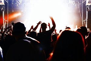 silhouettes of crowd party concert music happy