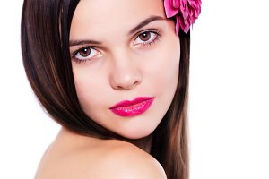 Young beauty woman face with makeup make-up