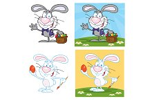 Bunny With Easter Eggs. Collection