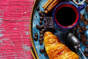 Coffee espresso with croissant