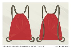 Drawstring Backpack Vector Template